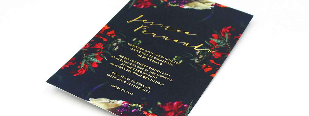 Digitally Printed Wedding Invites with Gold Foil