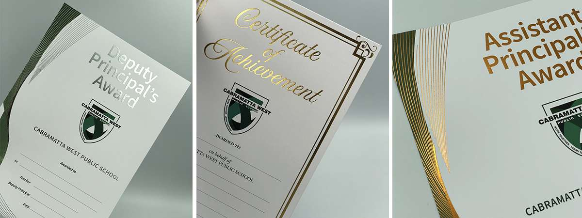 Printed Certificates Digital Printed With Gold and Silver Foil.