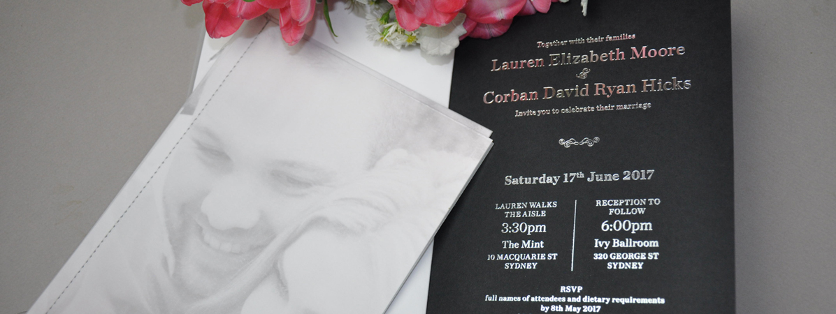 Wedding Invite - Silver Foil on Black Card - Fast Print Services